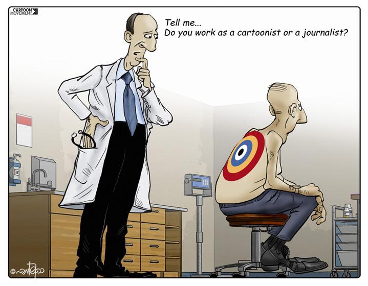 Image result for journalist afraid cartoon