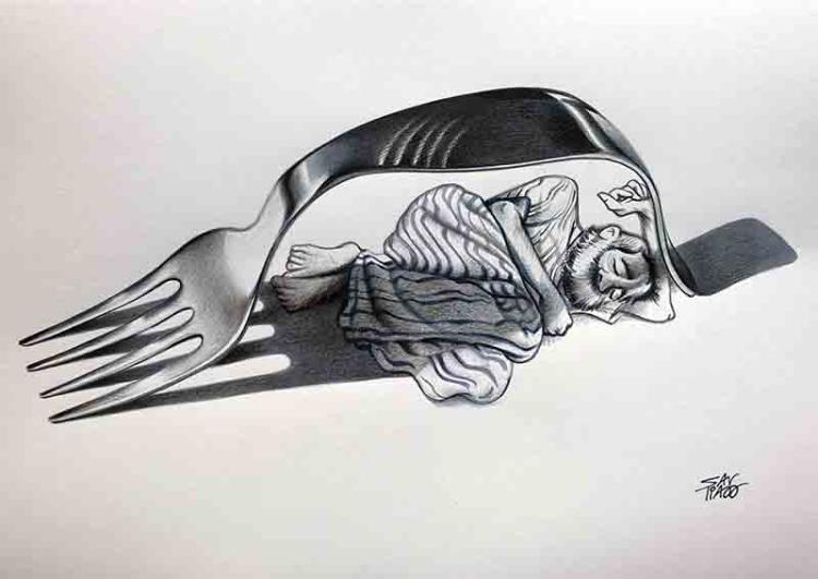 Antonio Santos cartoon «The poverty in the world»